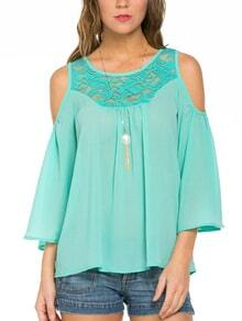 Green Bell Sleeve Lace Insert Chiffon Shirt