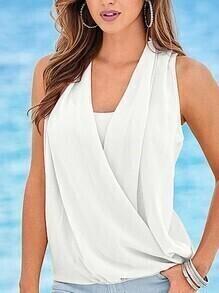 White Sleeveless Chiffon Wrap Shirt