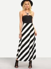Striped 2 in 1 Bandeau Maxi Dress