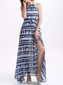 Drawstring Neck Tie Dye Print Slit Maxi Dress