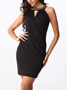 Chain Halter Neck Draped Dress