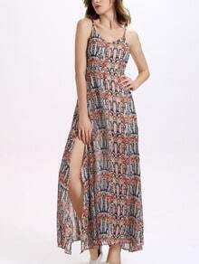Abstract Geo Print Slit Long Cami Dress