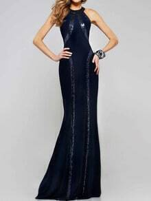 Halter Neck Sequin Panel Maxi Dress - Navy