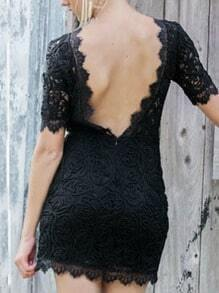 Backless Lace Bodycon Dress - Black