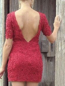 Backless Lace Bodycon Dress - Red