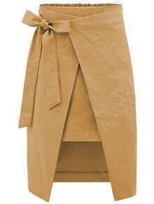 Bow-Tie Waist Asymmetric Wrap Skirt - Khaki