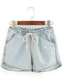 Pantalón corto vaquero con cintura elástica -azul claro