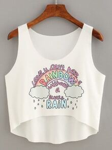 Rainbow Print High-Low Crop Tank Top