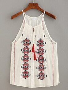 Tassel-Tie Halter Neck Embroidery Top - White