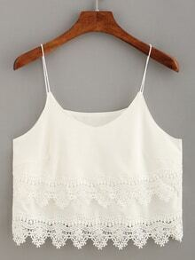 Lace Trimmed Layered Crop Cami Top