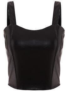 Faux Leather Zip Back Wide Strap Top