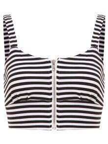 Striped Zip Front Crop Cami Top