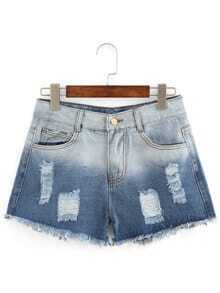 Frayed Ombre Denim Shorts