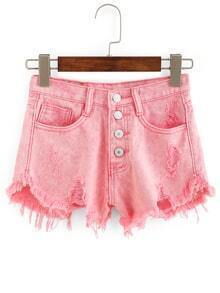 Frayed Buttoned Fly Denim Shorts - Pink
