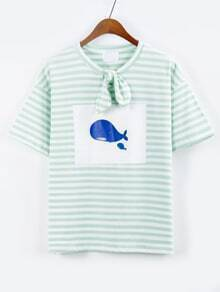 Bow-Knot Neck Striped Whale Print T-shirt - Green
