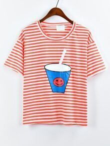 Drink Cup Print Striped T-shirt - Orange