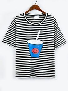 Drink Cup Print Striped T-shirt - Black
