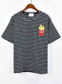 French Fries Embroidered Striped T-shirt - Black