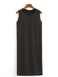 Ribbed Neck Striped Tank Dress - Black