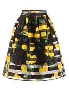 Lemon Print Box Pleated Midi Skirt