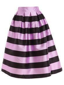 Wide Striped Box Pleated Midi Skirt