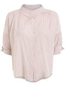 Band Collar Vertical Striped Half Sleeve Blouse - Pink