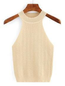 Halter Neck Knitted Sweater - Apricot