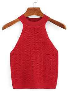 Halter Neck Knitted Sweater - Red