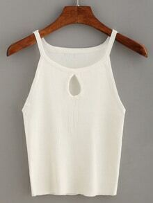 Keyhole Halter Neck Ribbed Knitted Top