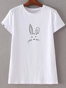 White Short Sleeve Letters Embroidery Rabbit Print T-shirt