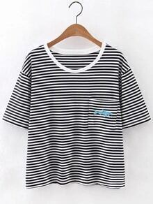 Blue Fish Embroidery Pocket Stripe T-shirt