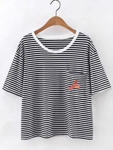 Red Lobster Embroidery Pocket Stripe T-shirt