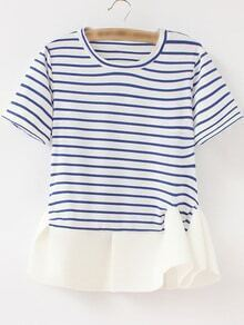 Blue White Stripe Ruffle Hem Short Sleeve T-shirt