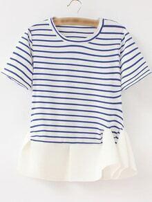 Blue White Stripe Ruffle Hem Short Sleeve T-shirt