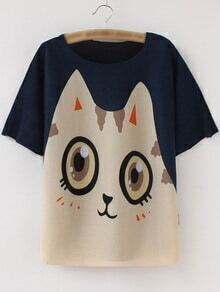Multicolor Short Sleeve Cartoon Print Pleated T-shirt