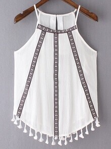 White Fringed Hem Embroidery Spaghetti Strap Tank Top