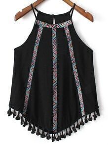 Black Fringed Hem Embroidery Spaghetti Strap Tank Top