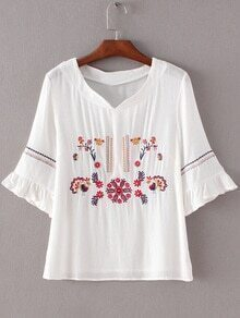 White V Neck Bell Sleeve Embroidery Blouse