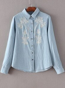 Light Blue Buttons Front Embroidery Denim Blouse
