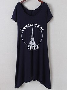 Navy Irregular Hem Letters Iron Tower Print Dress