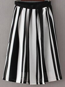 Black White Stripe Zipper Side Pleated Skirt