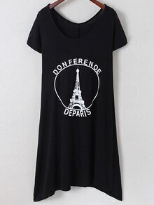 Black Irregular Hem Letters Iron Tower Print Dress