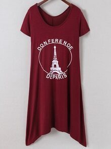 Burgundy Irregular Hem Letters Iron Tower Printing Dress