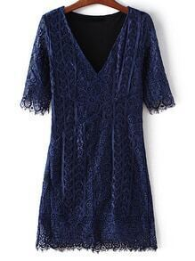 Navy V Neck Half Sleeve Lace Dress