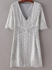 Light Grey V Neck Half Sleeve Lace Dress