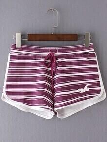 Multicolor Tie-Waist Seagull Print Stripe Shorts