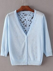Azure Hollow Lace Splicing Cardigan Knitwear