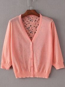 Orange Hollow Lace Splicing Cardigan Knitwear