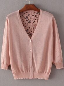 Pink Hollow Lace Splicing Cardigan Knitwear
