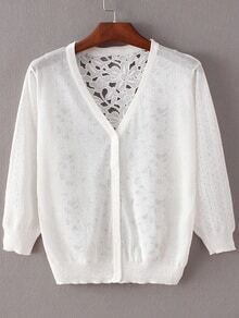 White Hollow Lace Splicing Cardigan Knitwear